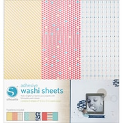 "Silhouette Of America SILWASH Adhesive Back Multicolored Washi Sheets, 12"" x 12"", 3/Pack"