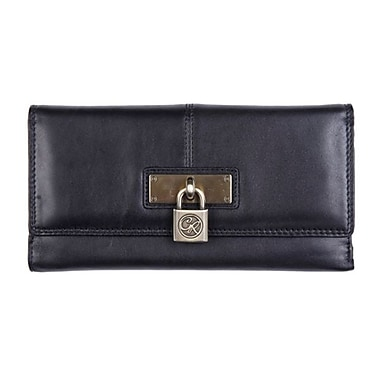 Club Rochelier Large Clutch Wallet With Tab Closure, Black