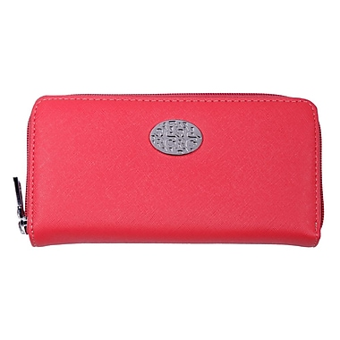 Club Rochelier Zippered Round Clutch with Coin Pocket, Coral