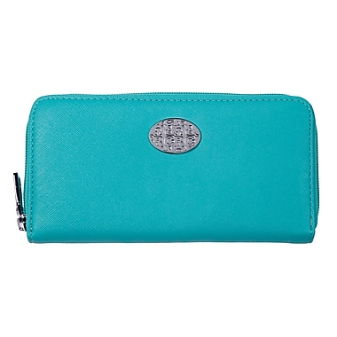 Club Rochelier Zippered Round Clutch with Coin Pocket, Aqua