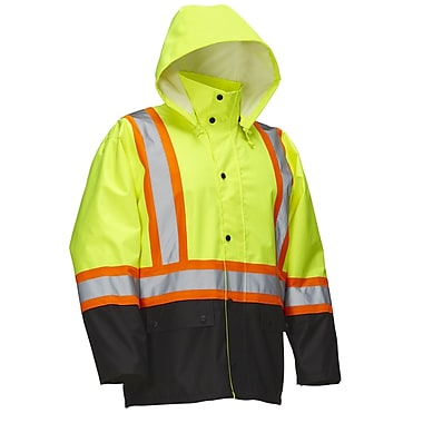 Forcefield Safety Rain Jacket, Lime with Black Trim, 3XL