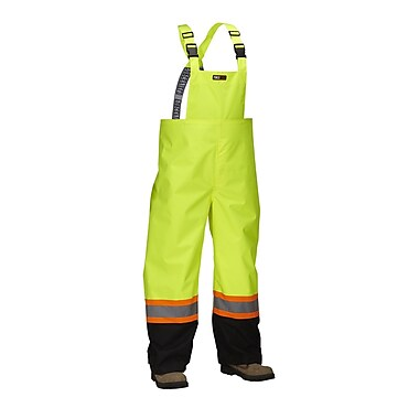 Forcefield Safety Rain Overalls, Lime with Black Trim, Medium