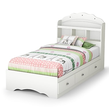 South Shore Tiara Twin Mates Bed with Drawers and Bookcase Headboard (39'') Set, Pure White