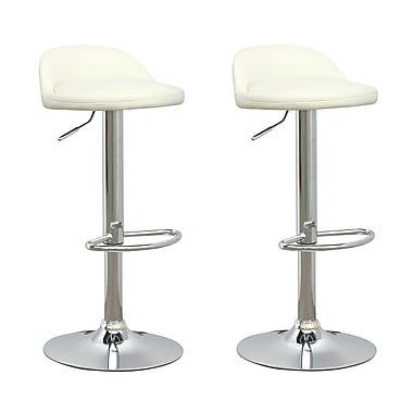 CorLiving DPU-516-B Low Profile Adjustable Barstool in White Leatherette, Set of 2