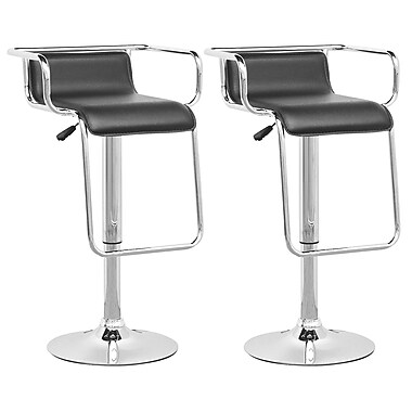 CorLiving DPV-305-B Adjustable Barstool with Footrest in Black Leatherette, Set of 2
