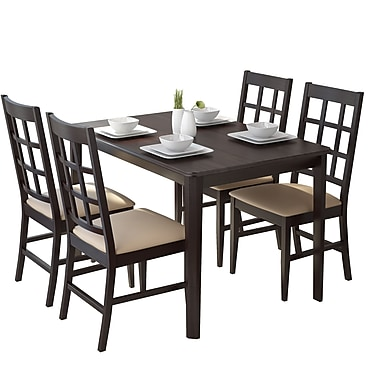 CorLiving DRG-695-Z Atwood 5-Piece Dining Set, with Grey Stone Leatherette Seats