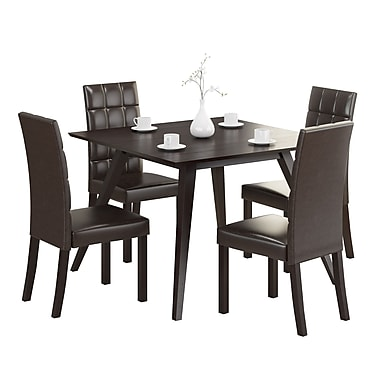 CorLiving DRG-895-Z Atwood 5-Piece Dining Set, with Dark Brown Leatherette Seats