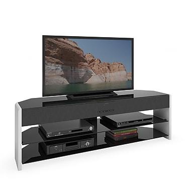 CorLiving – Meuble de télévision TSB-919-T Santa Brio avec barre de son pour les téléviseurs jusqu'à 70 po, blanc lustré