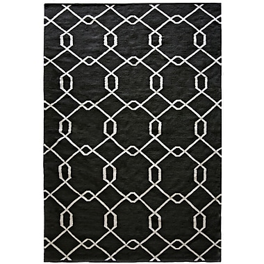 Lanart Diamond Flat Weave Area Rug, 5' x 7', Black