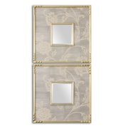 Uttermost 20 x 20 x 1 2-Piece Evelyn Pinewood Frame Mirror, Silver Gray/Antiqued Gold Leaf