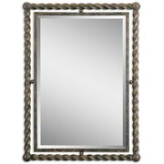 "Uttermost 35"" x 26"" x 2"" Garrick Iron Frame Mirror, Heavy Rust"