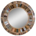 Uttermost 32in. x 32in. x 4in. Jeremiah Wooden Frame Mirror, Natural Wood