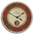 Uttermost 6042 S.B. Chieron 23in. Wall Clock, Deep Red/Cream Brass