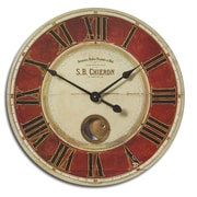 Uttermost 6042 S.B. Chieron 23 Wall Clock, Deep Red/Cream Brass