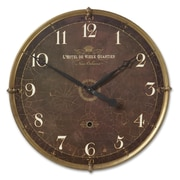 Uttermost 6044 Hotel Du Vieux Quartier 30 Wall Clock, Weathered Brown