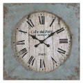 Uttermost 6079 Paron Square Wall Clock, Aged Ivory/Blue