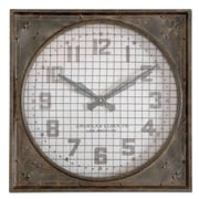 Uttermost 6083 Warehouse Wall Clock With Grill, Aged Ivory/Rust Brown