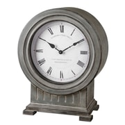 Uttermost 6088 Chouteau Mantel Table Clock, White/Gray