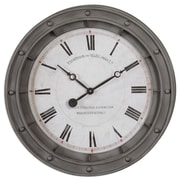 Uttermost 6092 Porthole Wall Clock, White/Gray