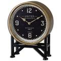 Uttermost 6094 Shyam Table Clock, Aged Black/Brass