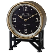 Uttermost 6094 Shyam Table Clock, Aged Black/Brass
