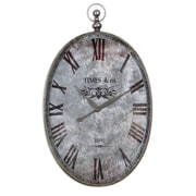 Uttermost 6642 Argento Antique Wall Clock, Brushed Aluminum/Dark Bronze