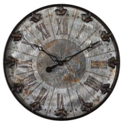 Uttermost 6643 Artemis Antique Wall Clock, Brushed Aluminum/Oil-Rubbed Bronze