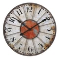 Uttermost 6664 Ellsworth 29in. Wall Clock, Ivory/Rust Red/Rustic Bronze
