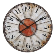 Uttermost 6664 Ellsworth 29 Wall Clock, Ivory/Rust Red/Rustic Bronze