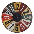 Uttermost 6675 Vintage License Plates 29in. Wall Clock, Multicolor