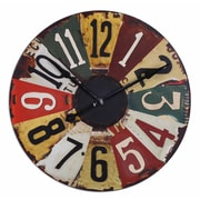 Uttermost 6675 Vintage License Plates 29 Wall Clock, Multicolor