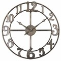 Uttermost 6681 Delevan 32in. Metal Wall Clock, Burnished Silver Leaf
