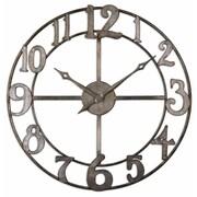 "Uttermost 6681 Delevan 32"" Metal Wall Clock, Burnished Silver Leaf"