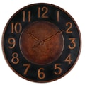 Uttermost 6691 Matera 36in. Metal Wall Clock, Black/Golden Bronze