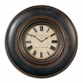 Uttermost 6724 Adonis 24in. Wooden Wall Clock, Aged Ivory/Brown