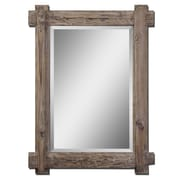 "Uttermost 39"" x 29"" x 2"" Claudio Wooden Frame Mirror, Light Walnut"