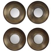 "Uttermost 12"" x 12"" x 2"" 4-Piece Tondela Metal Frame Mirror, Antiqued Golden Bronze/Light Gray"