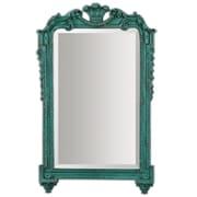 "Uttermost 32"" x 20"" x 2"" Andreina Wooden Frame Mirror, Antiqued Turquoise/Dark Gray"