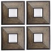 "Uttermost 16"" x 16"" x 3"" 4-Piece Fendrel Wooden Frame Mirror, Aged Pecan/Rustic Dark Bronze"