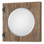 Uttermost 24 x 24 x 4 Gualdo Aged Wood Mirror Cabinet, Light Ivory/Rustic Olive Bronze