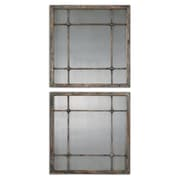 Uttermost 19 x 19 x 1 2-Piece Saragano Wooden Frame Square Mirror, Slate Blue/Aged Ivory