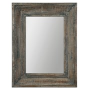Uttermost 35 x 27 x 3 Missoula Wooden Frame Small Mirror, Blue Green/Aged Wood/Rustic Ivory