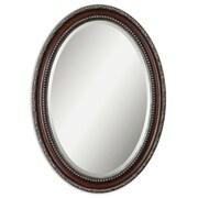 Uttermost 35 x 25 x 2 Montrose Wooden Frame Mirror, Dark Mahogany/Antiqued Silver/Dark Gray
