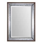 """Uttermost 37"""" x 27"""" x 2"""" Daria Wooden Frame Mirror, Aged Pecan"""