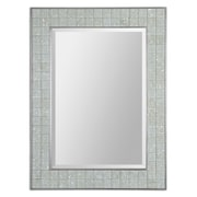 "Uttermost 39"" x 30"" x 1"" Arroscia Glass Frame Mirror, Pale Green Ivory/Silver"