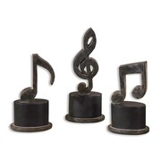 Uttermost Music Notes 3-Piece Figurine Set, Aged Black/Tan