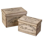 Uttermost Chocolaterie Ivory/Black Fir Wood 2-Piece Decorative Box Set