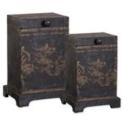 Uttermost Melani Aged Black/Gold Mango Wood 2-Piece Decorative Box Set