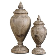 Uttermost Brisco 2-Piece Carved Wood Finial Set, Natural Wood Tone