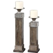 "Uttermost Lican Natural Wood 2-Piece Candleholder Set, 18"" x 5"" x 5"" Large"